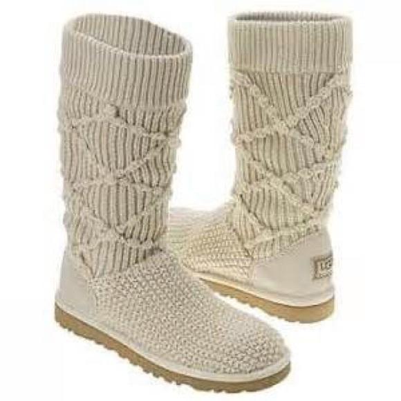 Ugg Shoes Argyle Cream Crochet Boots Poshmark